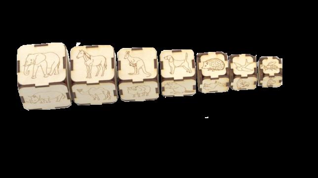 7 augoša izmēra kluču komplekts. Uz katra kluča 6 skaldnēm ir uzzīmēti 6 dažādi dabiska izskata dzīvnieki, kuru reālais izmērs ir proporcionāli atbilstošs atbilstošā kluča izmēram (zilonis – uz lielākā izmēra kluča un bite – uz mazākā klucīša). Katram klucim, to pakratot ir dzirdama kluča izmēram atbilstoša augstuma skaņa.