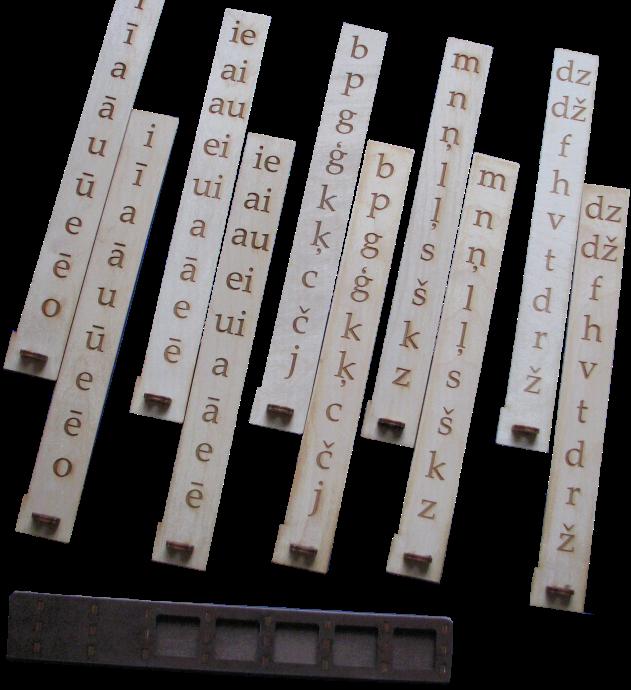 Piecas paralēli bīdāmas slejas ar burtiem ir piemērots palīgmateriāls  lasītprasmes apguves sākumposmā, ļoti dinamiski iespējams bīdot  slejas mainīt burtu salikumu: komplektā katra sleja ir 2 eksemplāros,  līdz ar to ir lielas variāciju iespējas dažādu burtu salikumu un vārdu veidošanai.  Slejas pieejamas gan ar lielajiem drukātajiem, gan ar mazajiem rakstītajiem burtiem. Valodas apguves un korekcijas mācību līdzeklis.  Komplekts sastāv no 96 krāsainiem zīmējumiem,  kuri komplektēti pēc īsā vai garā patskaņa  atrašanās nosaukuma pirmajā zilbē (aptverti visi patskaņi),  lielās darba pamatnes (mājiņas) ar 48 lodziņiem,  četrām mazajām pamatnēm ar 12 lodziņiem kā arī īso,  garo patskaņu un to apzīmējuma komplekta.