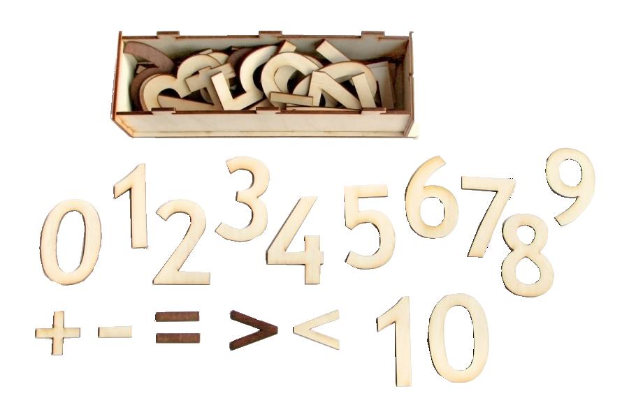 """Ciparu komplekts sastāv  no cipariem no 0-10 (katrs cipars ir 4 eksemplāros), kā arī aritmētisko darbību """"+"""", '''-'', ''="""", """""""" zīmēm. Izmantojams ciparu apgūšanai vienkāršu aritmētisko darbību veikšanai, kā arī dažādiem zīmēšanas darbiņiem trafaretu veidā."""