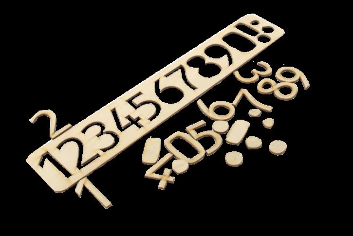Trafarets ar skaitļu rindu (1-10), kā arī paši cipari to ievietošanai attiecīgajās vietās. Izmantojams  ciparu apgūšanai un iepazīšanai, izmantojot gan redzes, gan taustes atmiņu, skaitļu rindas apgūšanai, izmantojams kā trafarets dažādiem zīmēšanas darbiem.