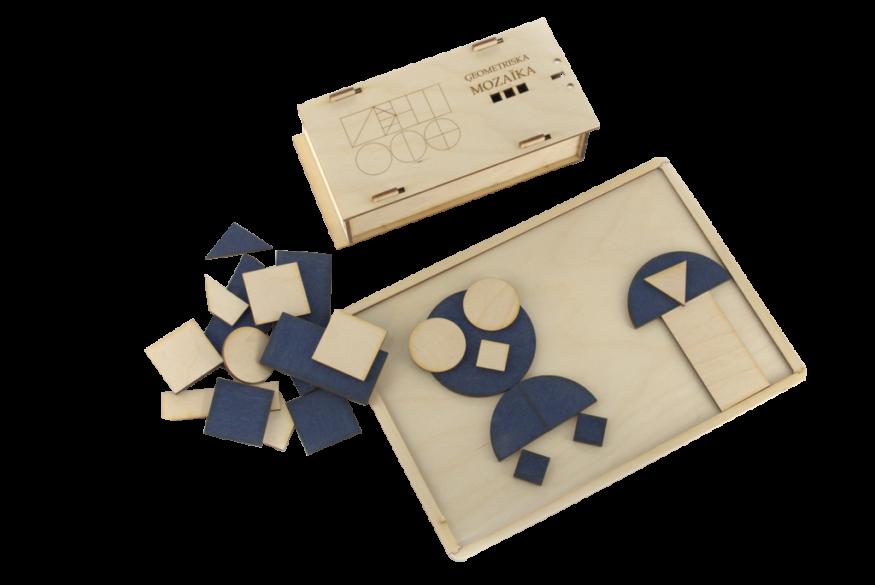 Sastāv no dažādu ģeometrisko figūru un to dalījuma (kopskaitā 50gab.) detaļām divās krāsās.  Izmantojams ģeometrisko figūru un to dalījuma apgūšanai, piemēram,  vesels riņķis, puses, ¼, kā arī dažādiem ļoti radošiem konstruēšanas un modelēšanas darbiem.  Komplektā ietilpst A4 formāta darba pamatne.  Iespējamie krāsu salikumi: koka krāsa (gaišs) – zils; Koka krāsa (gaišs) – zaļš; Koka krāsa (gaišs) – sarkans; Koka krāsa (gaišs) – tumši brūns;