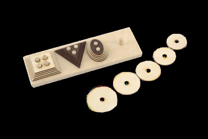 Uz pamatnes iestiprinātās tapās (ar skaitu 1-4) ieliekami piecu augoša izmēra 4 ģeometrisko figūru komplekti. Materiāls paredzēts sīkās pirkstu motorikas, acu, roku koordinācijas, kā arī loģiskās domāšanas un uztveres veicināšanai. Katru figūru komplektiņu iespējams lietot atsevišķi kā materiālu izmēru salīdzināšanai, skaitīšanai, dažādiem zīmēšanas darbiem.