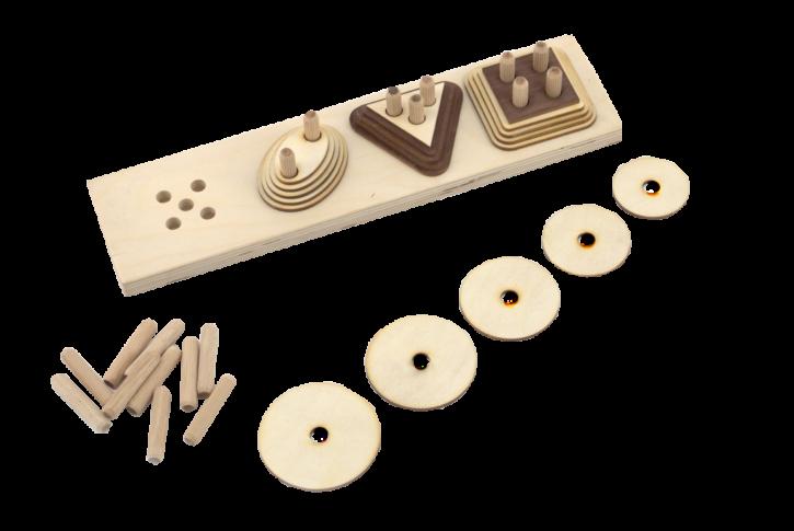 Sastāv no darba pamatnes un četriem augoša izmēra dažādu ģeometrisko figūru (5gab.) komplektiem. Materiāls paredzēts sīkās pirkstu motorikas, acu, roku koordinācijas, kā arī loģiskās domāšanas un uztveres veicināšanai. Pamatnē katrā no 4 pozīcijām ir pieci caurumi un attiecīgs tapu daudzums, kas ļauj katrā no pozīcijām ievietot jebkuru figūru komplektu, līdz ar to, salīdzinot ar ģeometriskām piramīdām 1, iespējami komplicētāki uzdevumi, piemēram, ievietot tapas pamatnē, atbilstoši dotajai ģeometriskajai figūrai. Katru figūru komplektiņu iespējams lietot atsevišķi kā materiālu izmēru salīdzināšanai, skaitīšanai, dažādiem zīmēšanas darbiem.