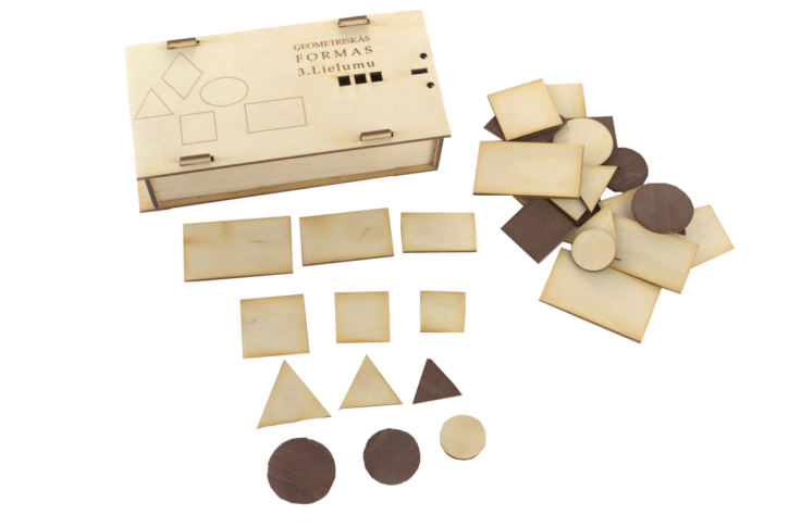 Materiāls paredzēts vienkāršiem šķirošanas un grupēšanas darbiem (šķirojot  pēc izmēra, formas vai krāsas). Noder arī 4 ģeometrisko pamatfigūru apgūšanai.