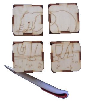 Četri vienāda izmēra kluči ar dažādu svaru un sešiem dažādu  (saliekamu no 4 daļām) dzīvnieku attēliem. Paredzēti svara jēdziena fizikālai  apgūšanai un izpratnei, kā arī dzīvnieku attēlu veidošanai.