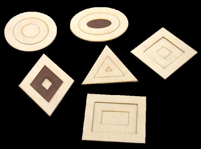 6 ģeometrisko figūru komplekts ir paredzēts ģeometrisko figūru apgūšanai,  dažādiem zīmēšanas un konstruēšanas darbiem,  atšķirt un salīdzināt izmērus (lielāks, mazāks).