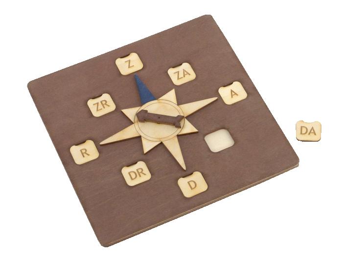 Kompasa modelis pardzēts debespušu nosaukumu un to  izvietojuma apgūšanai, piemērots pārbaudes darbiem mācību iestādēs.