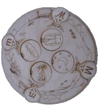 """Materiāls latviešu valodas skaņu un tām atbilstošo burtu, kā arī dažādu burtu  formātu (lielie drukātie, mazie drukātie, lielie rakstītie, mazie rakstītie) apgūšanai.  Komplektā ietilpst koka aplis burtu un attēlu ievietošanai,  130 attēli (to nosaukumu pirmā skaņa atbilst kādai no latviešu alfabēta burtiem,  piemēram: ābols – burts """"ā"""" utt.) un 4 latviešu alfabēta komplekti (atbilstoši katram no minētajiem burtu formātiem)."""