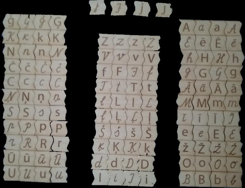 Latviešu valodas alfabēta burti četros formātos –  lielie drukātie, mazie drukātie, lielie rakstītie un mazie rakstītie.