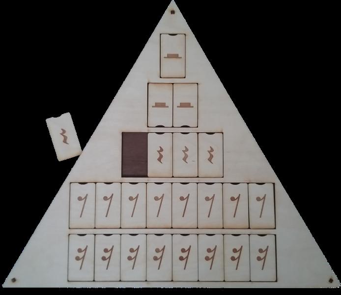 Mācību līdzeklis, paredzēts mūzikas teoriju pamatu – nošu, paužu ilgumu apgūšanai.  Sastāv no nošu kauliņu komplekta (no veselas līdz sešpadsmitdaļnotīm),  paužu kauliņa komplekta (no veselas līdz sešpadsmit daļ-pauzēm),  kā arī piramīdas formas pamatnes kauliņu ievietošanai.