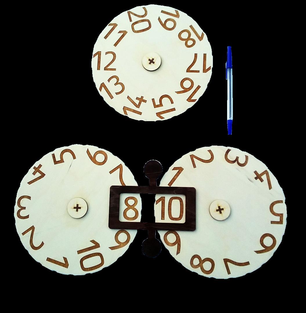 Stiprināmi ar magnētiem pie tāfeles. Interaktīvi. Griežot diskus attiecībā vienam pret otru,  iespējams liels skaits dažādu aritmētikas uzdevumu veikšanai (saskaitīšana, atņemšana, reizināšana, dalīšana, divu un trīs  ciparu skaitļu veidošana u.c.).