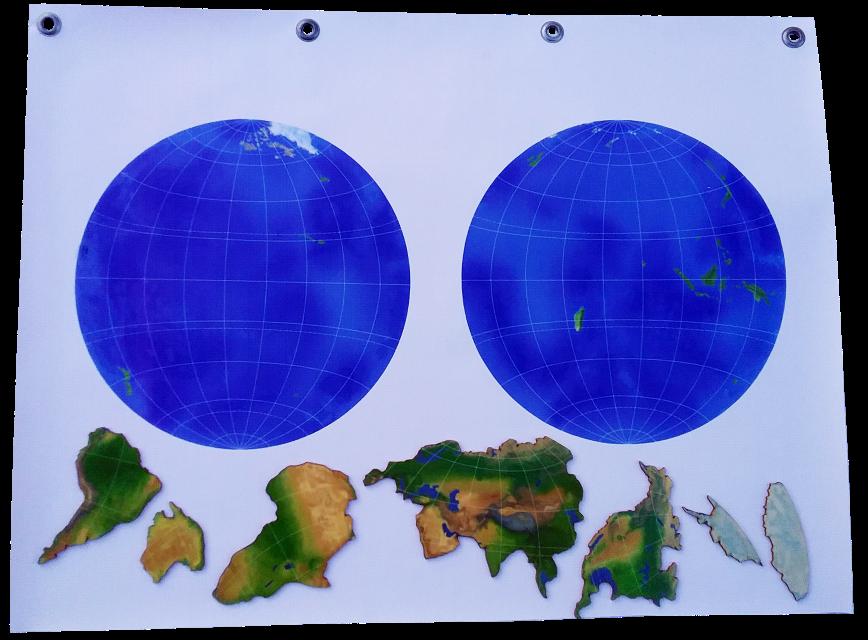 Izmērs: 70cm x 50cm, Karte stiprināma ar magnētiem pie tāfeles,  kā arī kontinenti atsevišķi pieliekami vai piestiprināmi ar magnētiem.