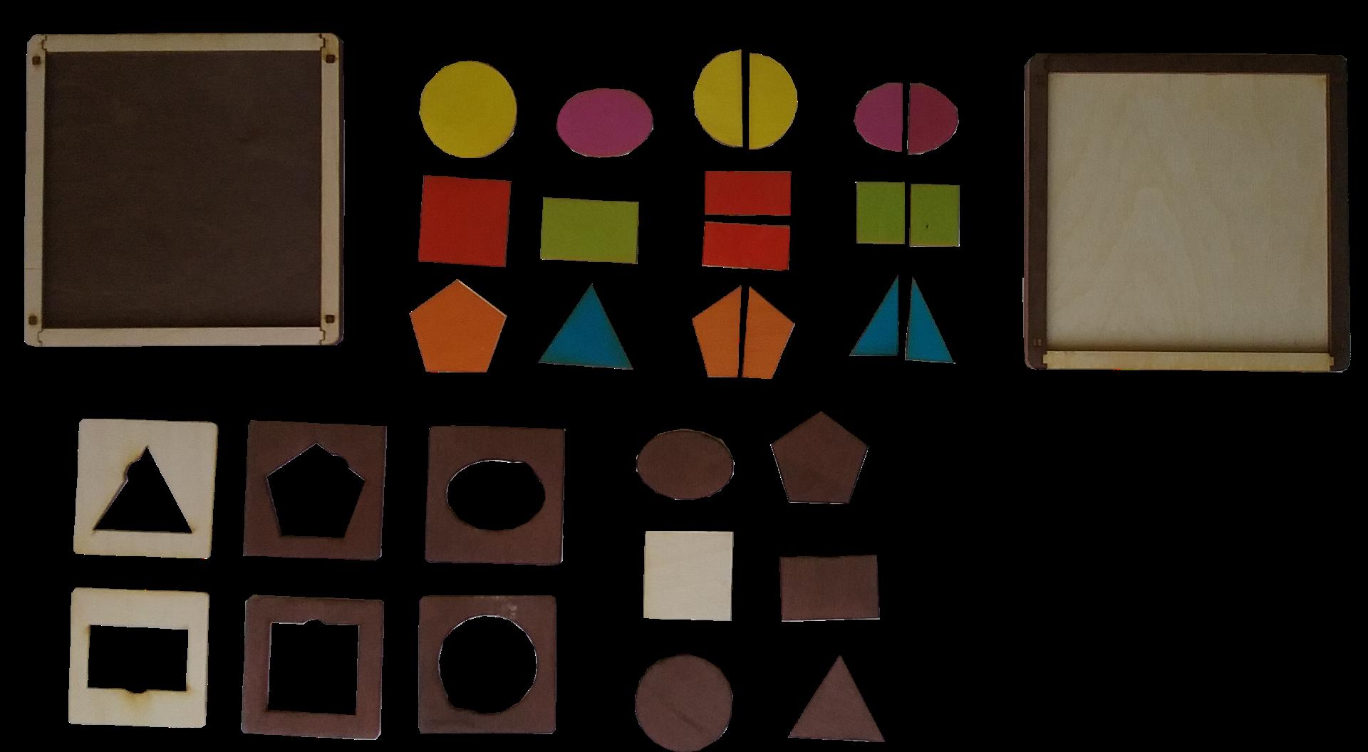 Komplektā ietilpst sešas krāsainas ģeometriskas figūras,  sešas krāsainas sadalītas ģeometriskas figūras un sešas vienkrāsainas (gaišas vai tumšas), rāmīši figūru ievietošanai un divas darba pamatnes.  Materiāls paredzēts loģiskās domāšanas, aritmētisko priekšstatu,  atmiņas un sīkās motorikas attīstīšanai.