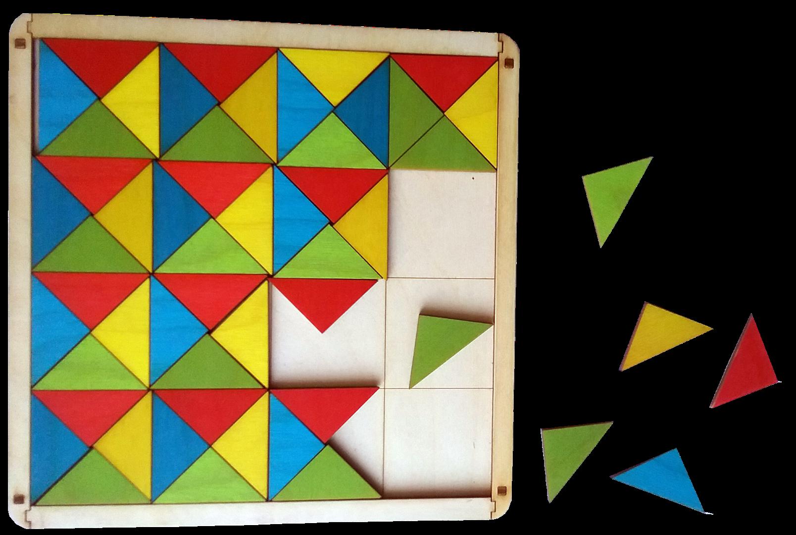 Četru dažādu krāsu trīsstūri (kopskaitā 64 gab.) un pamatne to ievietošanai. Paredzēta loģiskās un aritmētiskās domāšanas attīstīšanai.  Izmantojot krāsu kombinācijas iespējams veidot lielu skaitu dažādu simetrisku, asimetrisku formu un figūru attēlus.