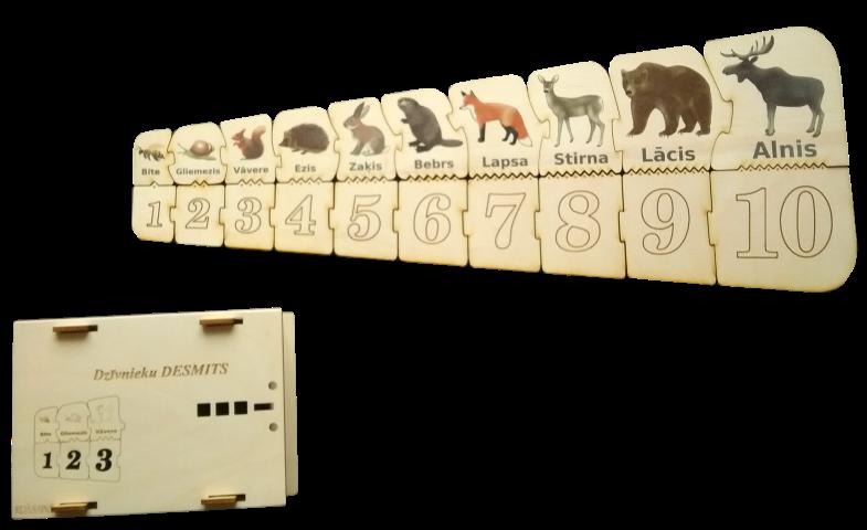 Krāsainais dzīvnieku desmits ir palīgmateriāls aritmētikā, sākot apgūt skaitļus no 1-10.  Skaitļu rinda veidota ar puzles veida savienojumu palīdzību augošā (1-10) izmērā.  Vieglākai skaitļu samēra un lieluma izpratnei paralēlā rinda veidota no dzīvniekiem  ( arī augošā izmērā). Abi kauliņi (cipara un dzīvnieku kauliņš)  ir savienoti ar zobveida savienojumu, kura zobiņu skaits atbilst katra kauliņa noteiktā kauliņa skaitlim.  Tos iespējams saskaitīt ar pirksta galiņu, tādējādi veicinot sīkās muskulatūras attīstību, uzmanību un skaitīšanas iemaņas.