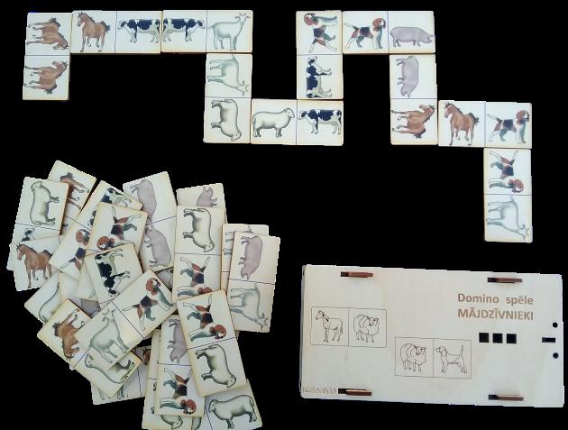 Jauka domino spēle, kurā izmantoti dabiskā izskatā zīmēti lielie mājdzīvnieki.  Spēli var izmantot dažādi, piemēram,spēlēt klasisku domino spēli ar vairākiem spēlētājiem.  2. Meklējot vienādos mājdzīvniekus un saliekot tos blakus vienu otram.  3. Sarindojot mājdzīvnieku attēlus pēc dažādiem parametriem, piemēram, augošā vai dilstošā secībā.  4. Mācīties mājdzīvnieku pareizus nosaukumus, izmantojot to attēlus uz spēles kauliņiem.  5. Salikt visus vai mazāku skaitu kauliņus vienu otram blakus, veidojot lielāku vai mazāku to laukumu  un nodarboties ar aritmētiku - saskaitot cik un kādi dzīvnieki ir salikti laukumā,  kuri ir vairāk vai mazāk utt.