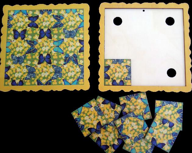 PUĶES Aizraujoša brīvā laika pavadīšanas spēle atslodzei un relaksācijai.  Piemērota gan lieliem, gan maziem.  Spēles uzdevums: Salikt deviņas spēles kartiņas spēles pamatnē tā, lai visas saliekamās taureņu  pusītes veidotu veselus taureņus. Mozaīku iespējams izmantot kā mājas dekoru - salīmējot kartiņas pie pamatnes un piekarinot pie sienas vai novietojot to kādā citā piemērotā vietā.  *Cena norādīta par vienu Mozaīku.