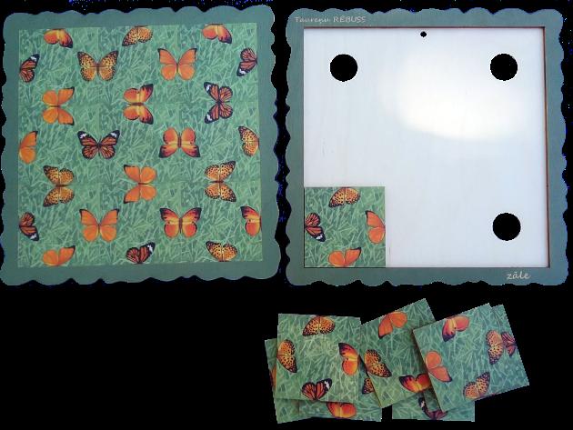 ZĀLE Aizraujoša brīvā laika pavadīšanas spēle atslodzei un relaksācijai.  Piemērota gan lieliem, gan maziem.  Spēles uzdevums: Salikt deviņas spēles kartiņas spēles pamatnē tā, lai visas saliekamās taureņu  pusītes veidotu veselus taureņus. Mozaīku iespējams izmantot kā mājas dekoru - salīmējot kartiņas pie pamatnes un piekarinot pie sienas vai novietojot to kādā citā piemērotā vietā.